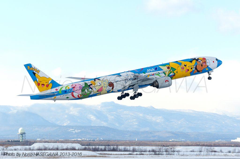 """All Nippon Airways / BOEING 777-300 / JA754A ポケモン""""ピース""""ジェット with """"心をひとつに、がんばろうニッポン"""""""